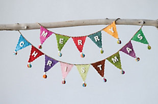 "Christmas 72"" Banner Shaped Wool Felt Garland with ""Merry Christmas"" & Pom Poms, , rollover"