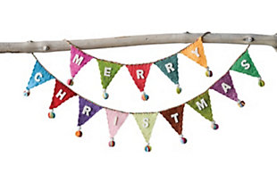 "Christmas 72"" Banner Shaped Wool Felt Garland with ""Merry Christmas"" & Pom Poms, , large"