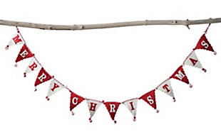 "Christmas 72"" Wool Felt Pennant Banner Shaped Garland with ""Merry Christmas"", , large"