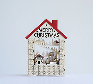 Christmas Wood House Shaped Advent Calendar with Numbered Boxes & LED Light, , rollover