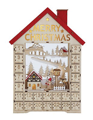 Christmas Wood House Shaped Advent Calendar with Numbered Boxes & LED Light, , large
