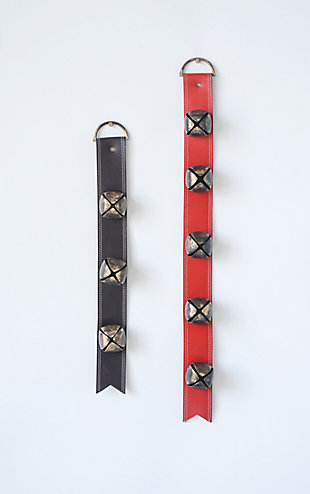 Christmas Jingle Bells On Red Leather Belt, , rollover