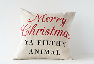 "Christmas 20"" Square Cotton Pillow with ""Merry Christmas YA FILTHY ANIMAL"", , rollover"