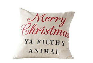 "Christmas 20"" Square Cotton Pillow with ""Merry Christmas YA FILTHY ANIMAL"", , large"