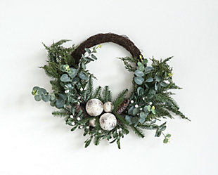 Christmas Faux Pine Wreath with Eucalyptus, Mistletoe, Birch Balls & Pinecones, , large
