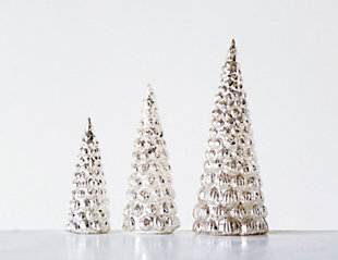 Christmas Embossed Mercury Glass Trees (Set of 3 Sizes), , rollover