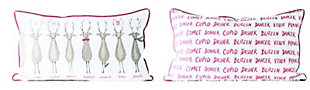 Christmas Rectangle Santa's Reindeer Cotton Pillow with Red Piping, , rollover