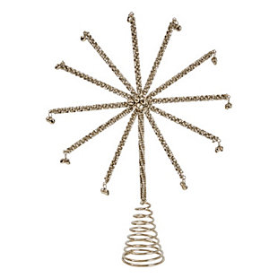 Christmas Metal Star Tree Topper Covered in Jingle Bells, , large