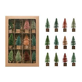 Christmas Bottle Brush Tree on Square Wood Base (Boxed Set of 12 Pieces), , large