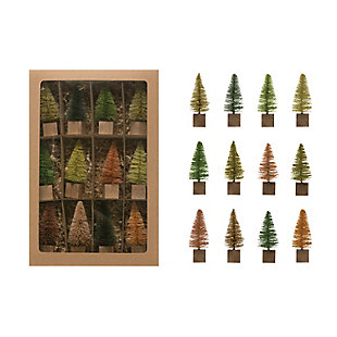 Christmas Bottle Brush Tree on Square Wood Base (Boxed Set of 12 Pieces), , large