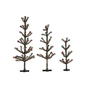 Christmas Vintage Reproduction Tinsel Trees with Ornaments (Set of 3 Sizes), , large