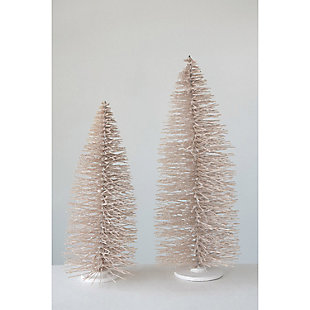 "Christmas 36"" Bottle Brush Tree on Wood Base with Glitter, , rollover"