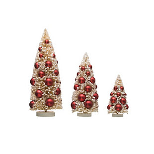 Christmas Bottle Brush Trees with Red Ornaments on Wood Bases (Set of 3 Sizes), , large