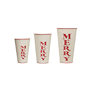 """Christmas Decorative """"Merry"""" Metal Containers with Red Rim (Set of 3 Sizes), , rollover"""