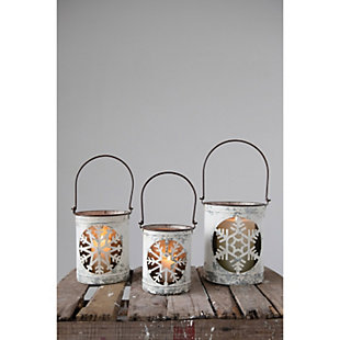 Christmas Distressed Metal Lanterns with Snowflake Cutouts & Handles (Set of 3 Sizes), , rollover
