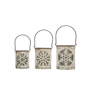 Christmas Distressed Metal Lanterns with Snowflake Cutouts & Handles (Set of 3 Sizes), , large