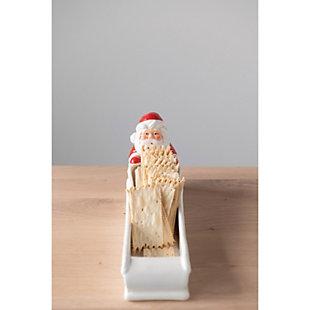Christmas Hand-Painted Ceramic Santa & Sleigh Shaped Cracker Dish, , rollover