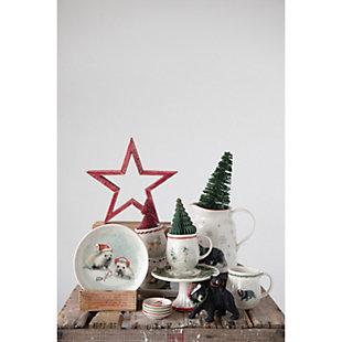 Christmas Bears, Snowman & Deer Winter Scene Rectangle Stoneware Platter, , rollover