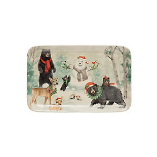 Christmas Bears, Snowman & Deer Winter Scene Rectangle Stoneware Platter, , large