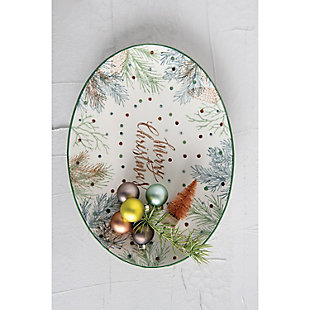 """Christmas """"Merry Christmas"""" Oval Stoneware Serving Platter with Pine Foliage & Polka Dots, , rollover"""