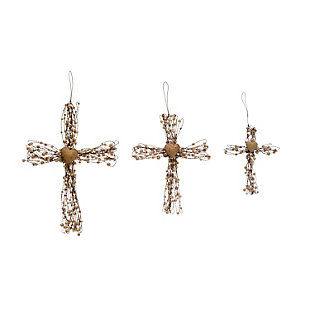 Christmas Metal Wire Cross Ornaments with Beads & Heart (Set of 3 Sizes), , large