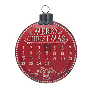 "Christmas Ornament Shaped ""Merry Christmas"" Metal Advent Calendar Wall Decor with Magnet, , rollover"