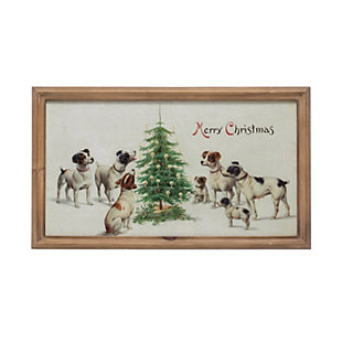 "Christmas Vintage Reproduction ""Merry Christmas"" Wall Art with Dogs & Wood Frame, , rollover"