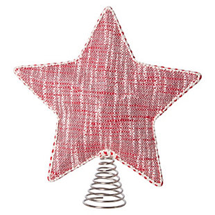 Christmas Cotton Woven Star Shaped Tree Topper with Stuffing & Decorative Trim, , rollover
