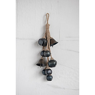 Christmas Decorative Metal Bells in Various Shapes on Jute Rope Hanger, , rollover