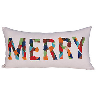 "Christmas Rectangle ""Merry"" Cotton Lumbar Pillow with Appliqued Beads, , rollover"