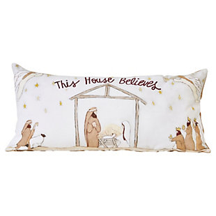 "Christmas Reversible Embroidered ""This House Believes"" Cotton Lumbar Pillow with Burlap Back, , rollover"