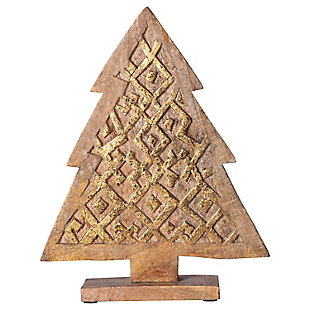 Christmas Hand-Carved Mango Wood Tree, , rollover