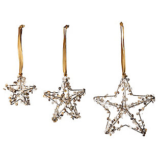 Christmas Metal Star Ornaments with Buttons (Set of 3 Sizes), , large