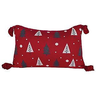 Christmas Cotton Knit Lumbar Pillow with Trees & Tassels, , rollover