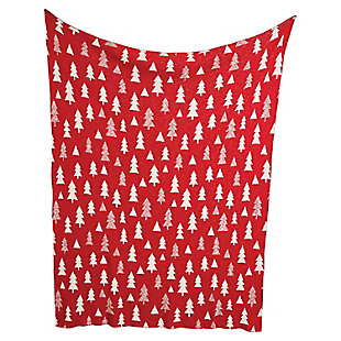 "Christmas 60"" Cotton Knit Throw with Trees, , large"