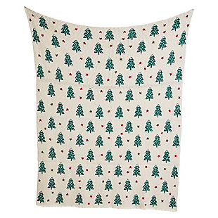 "Christmas 60"" Cotton Knit Throw with Trees, , rollover"