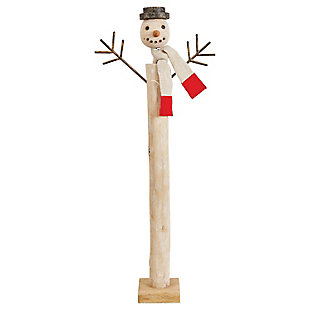 "Christmas 31"" Hand-Carved Painted Mango Wood Snowman with Fabric Scarf & Whitewashed Finish, , rollover"