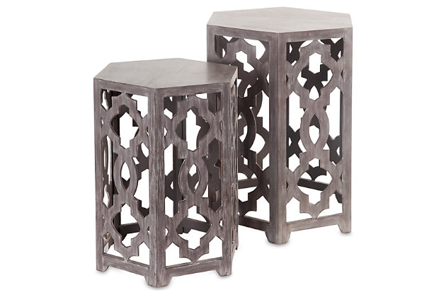 Home Accents Plant Stand (Set of 2) by Ashley HomeStore, Gray