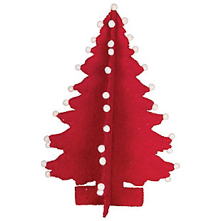 "Christmas 19"" Wool Felt Tree with Pom Poms, , rollover"