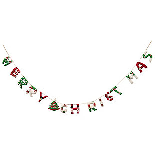 "Christmas 72"" Appliqued Wool Felt ""Merry Christmas"" Banner, , rollover"