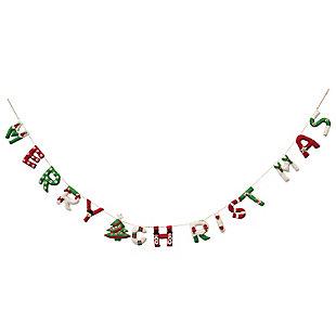 "Christmas 72"" Appliqued Wool Felt ""Merry Christmas"" Banner, , large"
