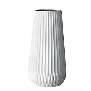 Tall White Ceramic Fluted Vase, , rollover