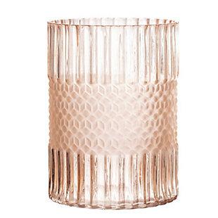 Elegant Matte Pink Embossed Glass Vase, , large