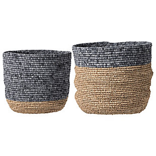 Set of 2 Beige and Grey Natural Seagrass Baskets, , large