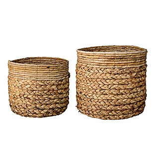 Beige Water Hyacinth and Banana Leaf Baskets (Set of 2 Sizes), , large