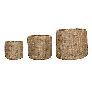 Set of 3 Round Beige Natural Seagrass Baskets, , large