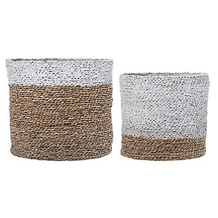 Round White and Brown Natural Seagrass Baskets (Set of 2 Sizes), , large