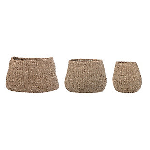 Brown Natural Seagrass Baskets (Set of 3 Sizes), , large