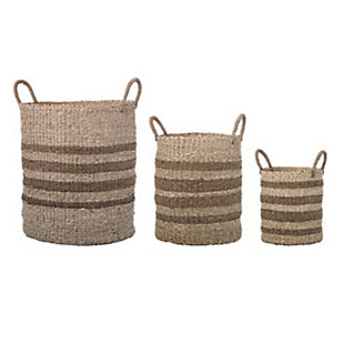 Brown Striped Natural Seagrass and Palm Baskets with Handles (Set of 3 Sizes), , rollover