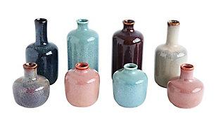 Set of 8 Multicolor Stoneware Vases, , rollover